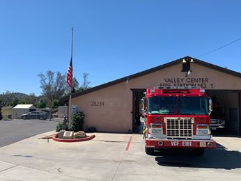 Flag at half-staff in front of Station for FF Chris Thompson